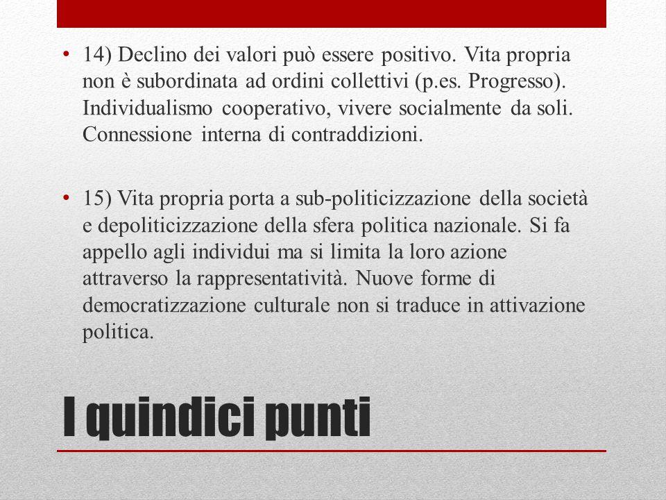 I quindici punti 14) Declino dei valori può essere positivo. Vita propria non è subordinata ad ordini collettivi (p.es. Progresso). Individualismo coo