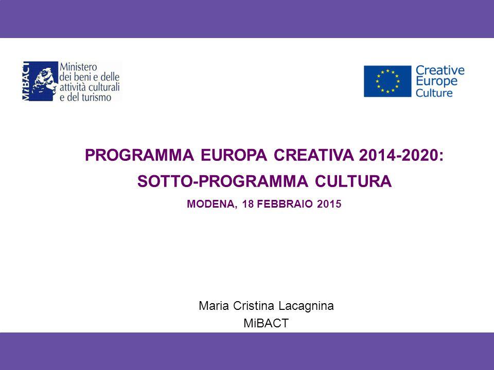 Europa Creativa 2014-2020: struttura e budget Programma europeo di finanziamento diretto per i settori culturali e creativi per il periodo 2014-2020 Unifica tre diversi programmi europei Cultura + Media + Media Mundus Dotazione finanziaria per il 2014-2020 è pari a 1,462 miliardi €: - Sotto-programma Cultura: 31% - Sotto-programma Media: 56% - Sezione Transettoriale: 13%