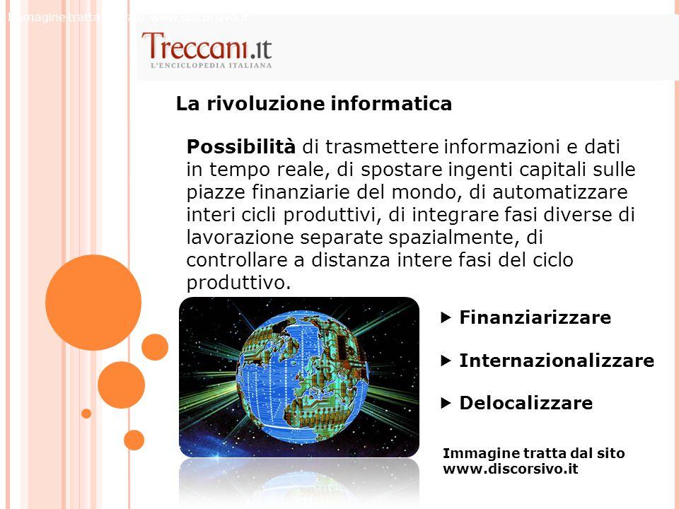  Finanziarizzare  Internazionalizzare  Delocalizzare La rivoluzione informatica Possibilità di trasmettere informazioni e dati in tempo reale, di s