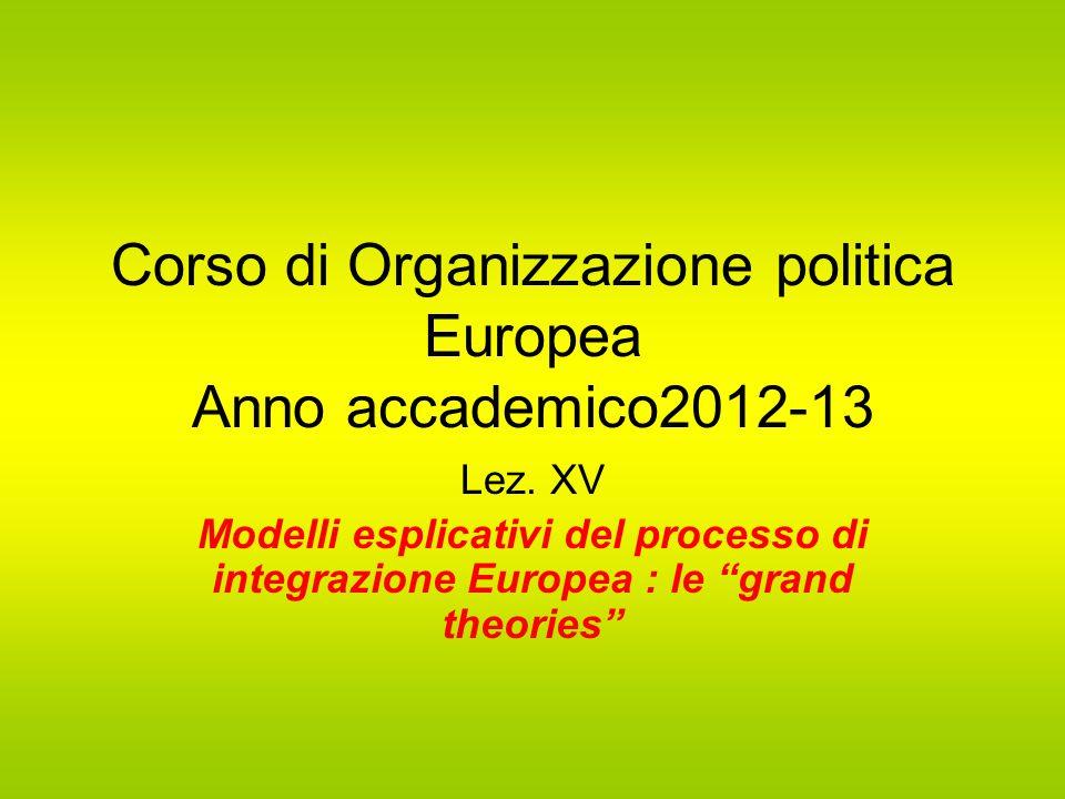 Corso di Organizzazione politica Europea Anno accademico2012-13 Lez.