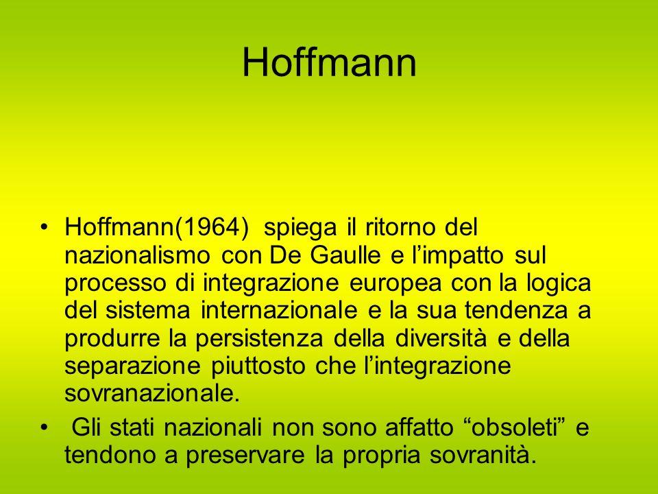 Hoffmann Hoffmann(1964) spiega il ritorno del nazionalismo con De Gaulle e l'impatto sul processo di integrazione europea con la logica del sistema internazionale e la sua tendenza a produrre la persistenza della diversità e della separazione piuttosto che l'integrazione sovranazionale.