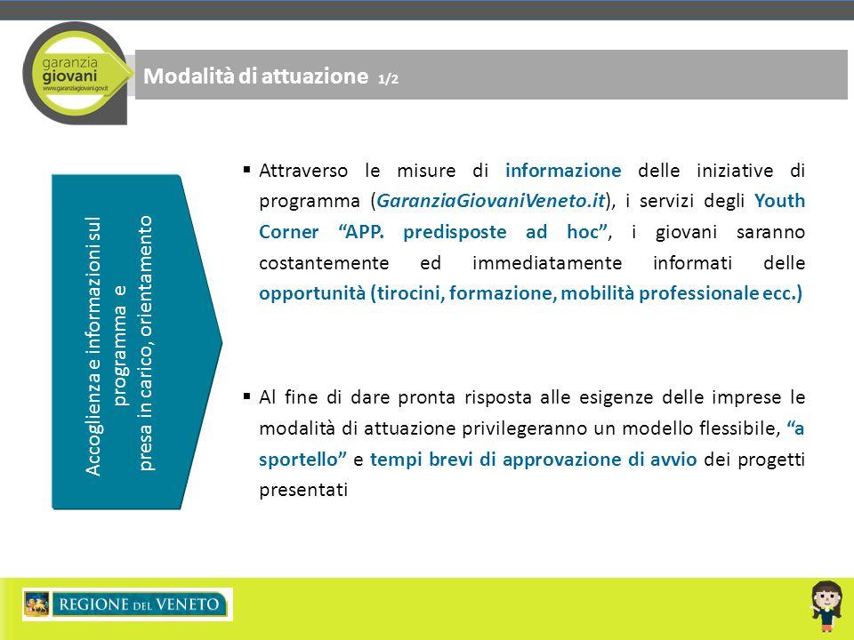 Accoglienza e informazioni sul programma e presa in carico, orientamento Modalità di attuazione 1/2  Attraverso le misure di informazione delle inizi