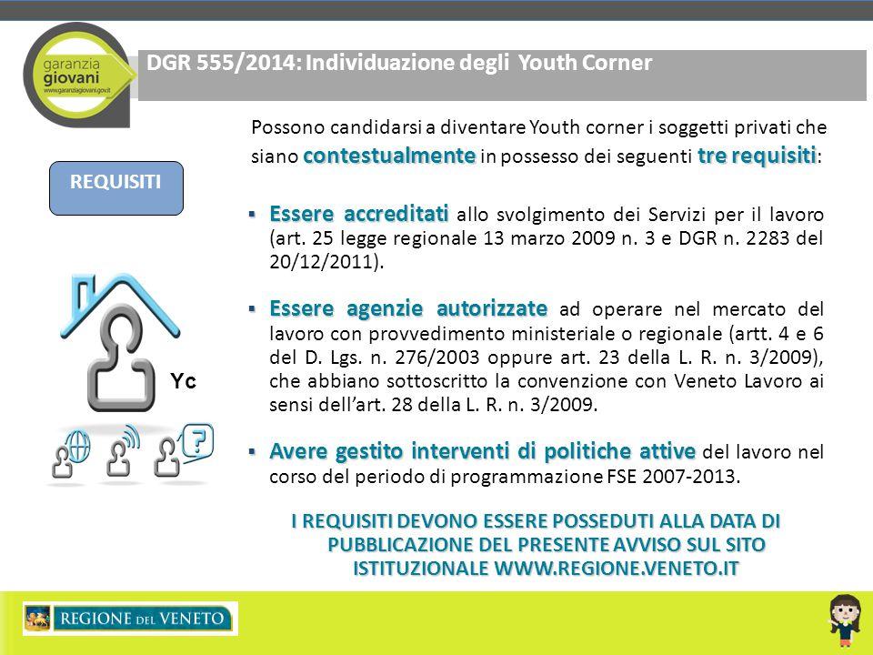 DGR 555/2014: Individuazione degli Youth Corner REQUISITI Yc contestualmentetre requisiti Possono candidarsi a diventare Youth corner i soggetti priva
