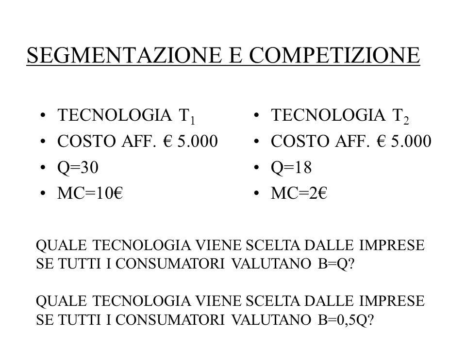SEGMENTAZIONE E COMPETIZIONE TECNOLOGIA T 1 COSTO AFF.