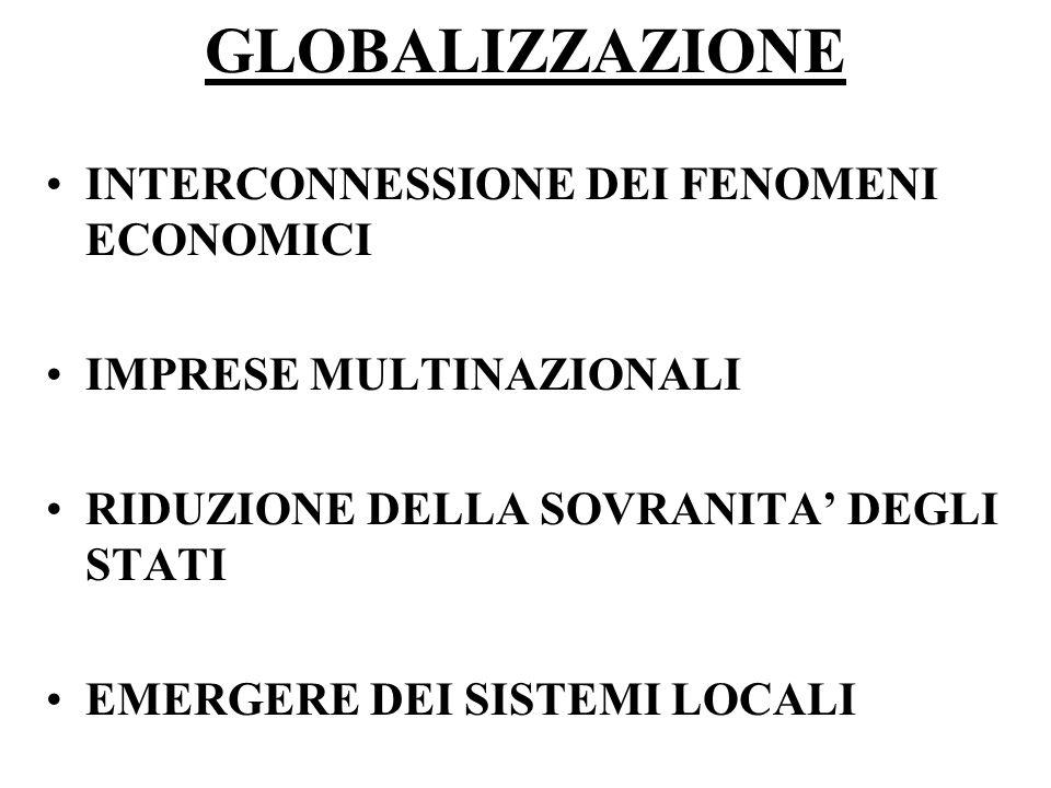 GLOBALIZZAZIONE INTERCONNESSIONE DEI FENOMENI ECONOMICI IMPRESE MULTINAZIONALI RIDUZIONE DELLA SOVRANITA' DEGLI STATI EMERGERE DEI SISTEMI LOCALI