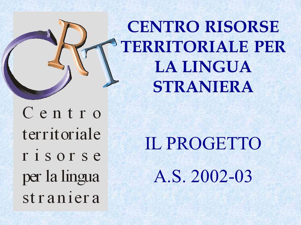 CENTRO RISORSE TERRITORIALE PER LA LINGUA STRANIERA IL PROGETTO A.S. 2002-03