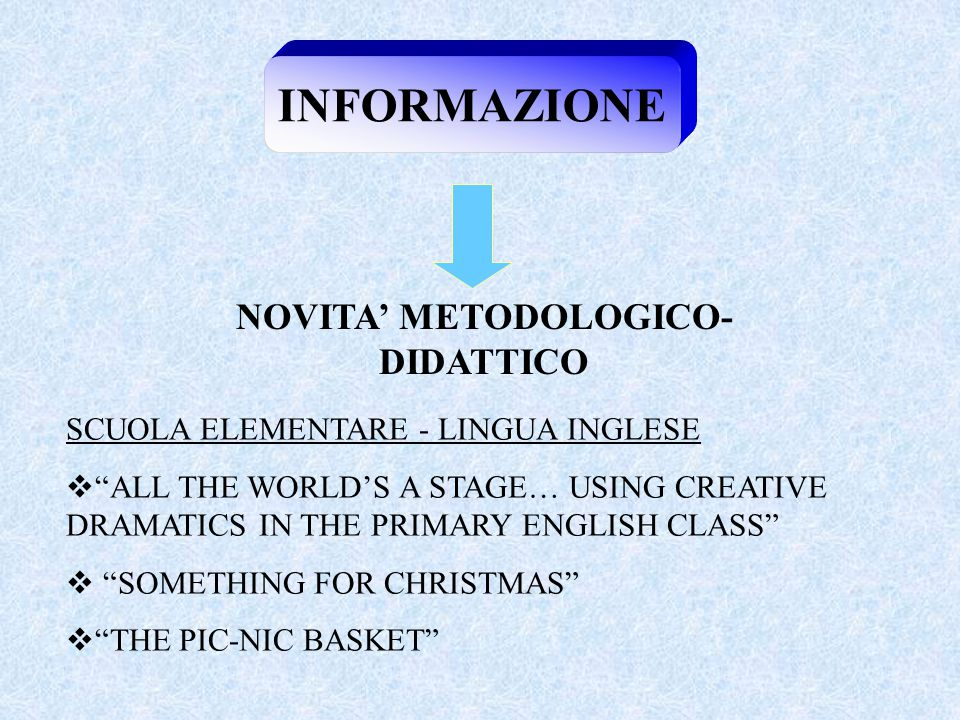 INFORMAZIONE NOVITA' METODOLOGICO- DIDATTICO SCUOLA ELEMENTARE - LINGUA INGLESE  ALL THE WORLD'S A STAGE… USING CREATIVE DRAMATICS IN THE PRIMARY ENGLISH CLASS  SOMETHING FOR CHRISTMAS  THE PIC-NIC BASKET
