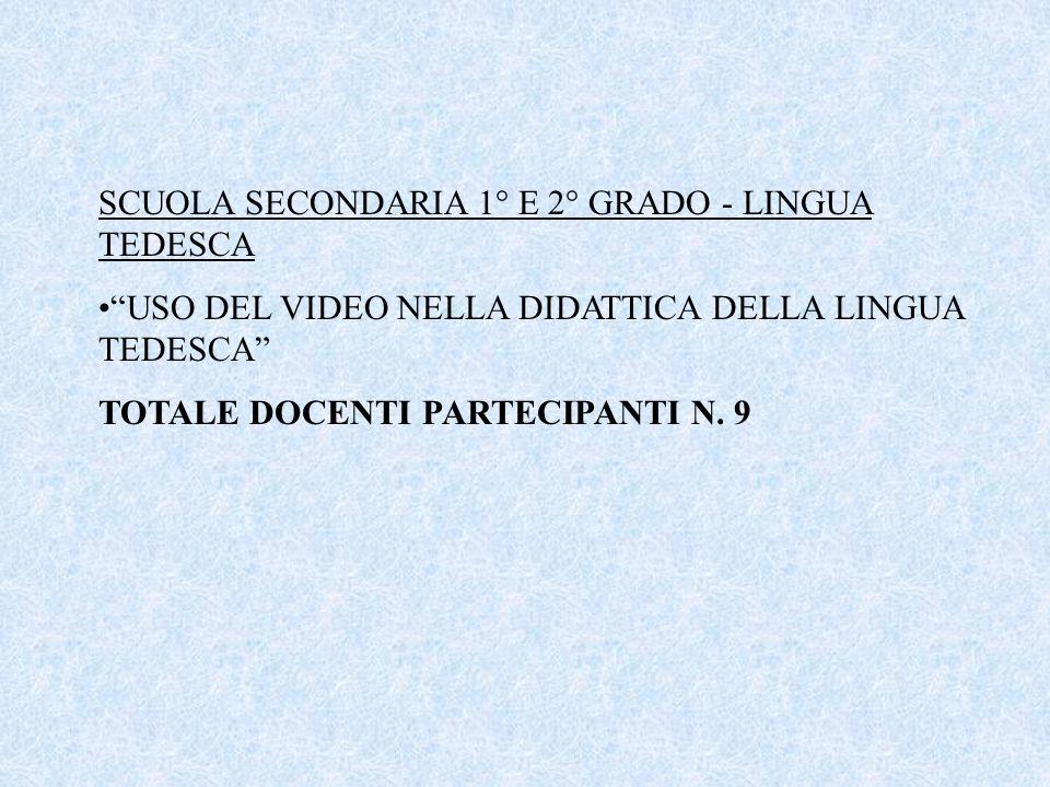 """SCUOLA SECONDARIA 1° E 2° GRADO - LINGUA TEDESCA """"USO DEL VIDEO NELLA DIDATTICA DELLA LINGUA TEDESCA"""" TOTALE DOCENTI PARTECIPANTI N. 9"""