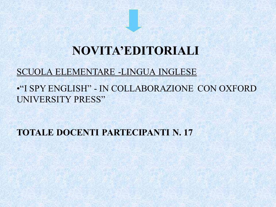 """SCUOLA ELEMENTARE -LINGUA INGLESE """"I SPY ENGLISH"""" - IN COLLABORAZIONE CON OXFORD UNIVERSITY PRESS"""" TOTALE DOCENTI PARTECIPANTI N. 17 NOVITA'EDITORIALI"""