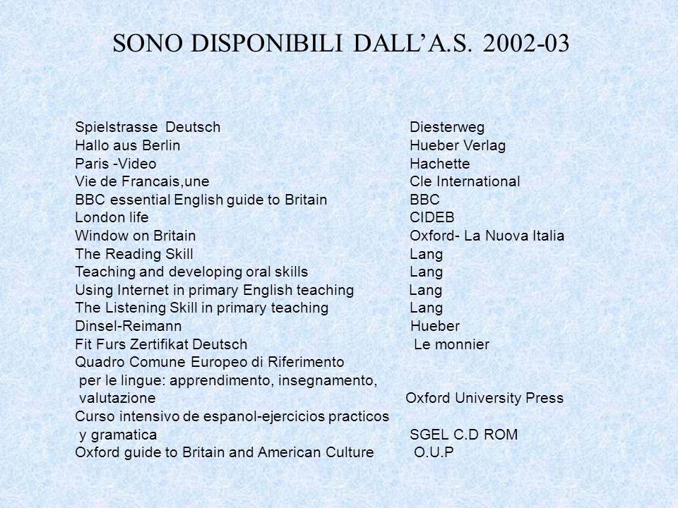 SONO DISPONIBILI DALL'A.S. 2002-03 Spielstrasse Deutsch Diesterweg Hallo aus Berlin Hueber Verlag Paris -Video Hachette Vie de Francais,une Cle Intern