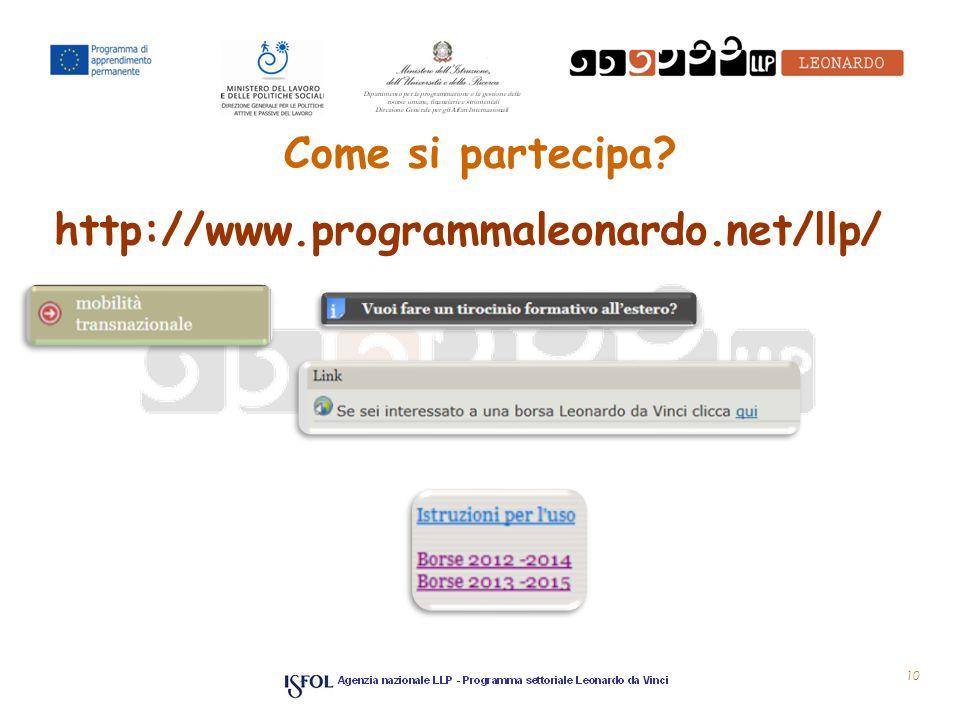 10 Come si partecipa http://www.programmaleonardo.net/llp/