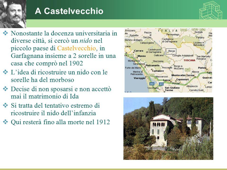 A Castelvecchio  Nonostante la docenza universitaria in diverse città, si cercò un nido nel piccolo paese di Castelvecchio, in Garfagnana insieme a 2