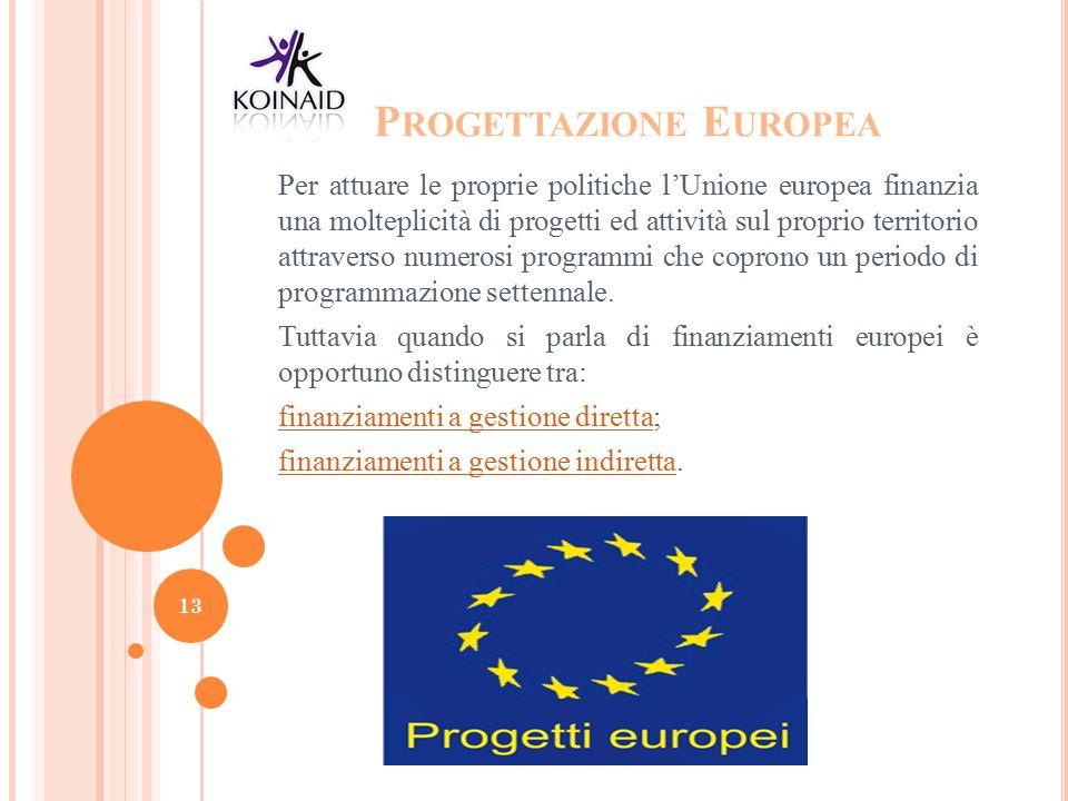 P ROGETTAZIONE E UROPEA Per attuare le proprie politiche l'Unione europea finanzia una molteplicità di progetti ed attività sul proprio territorio att