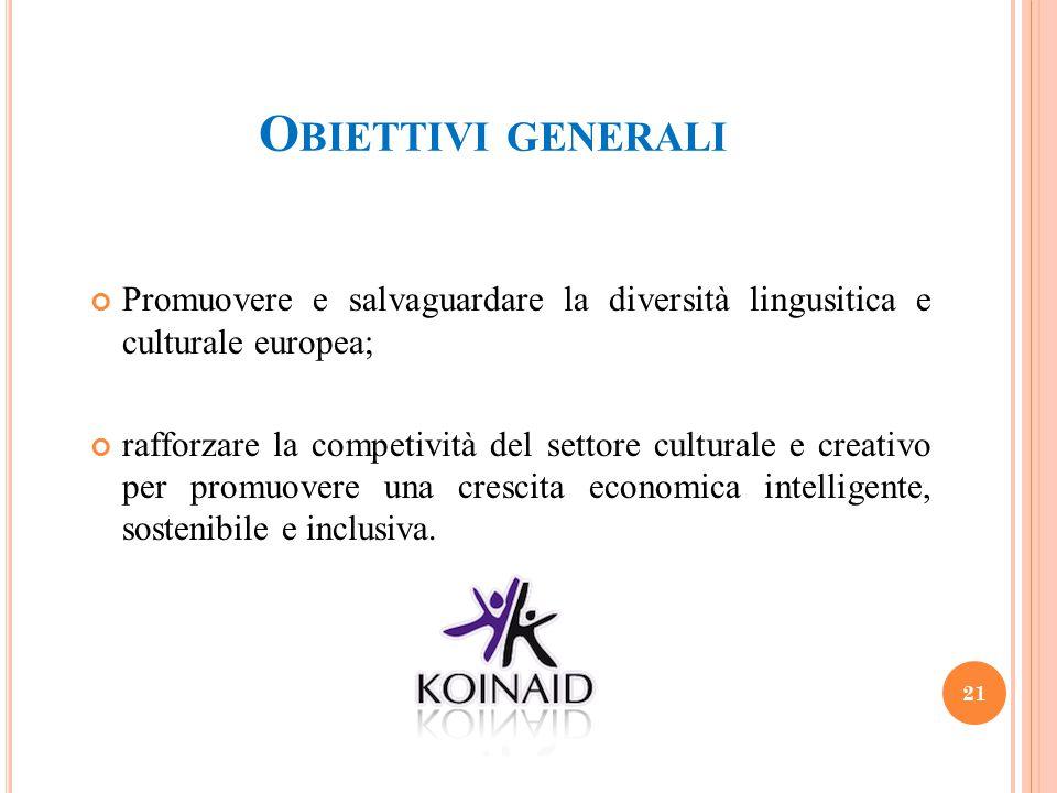 O BIETTIVI GENERALI Promuovere e salvaguardare la diversità lingusitica e culturale europea; rafforzare la competività del settore culturale e creativ