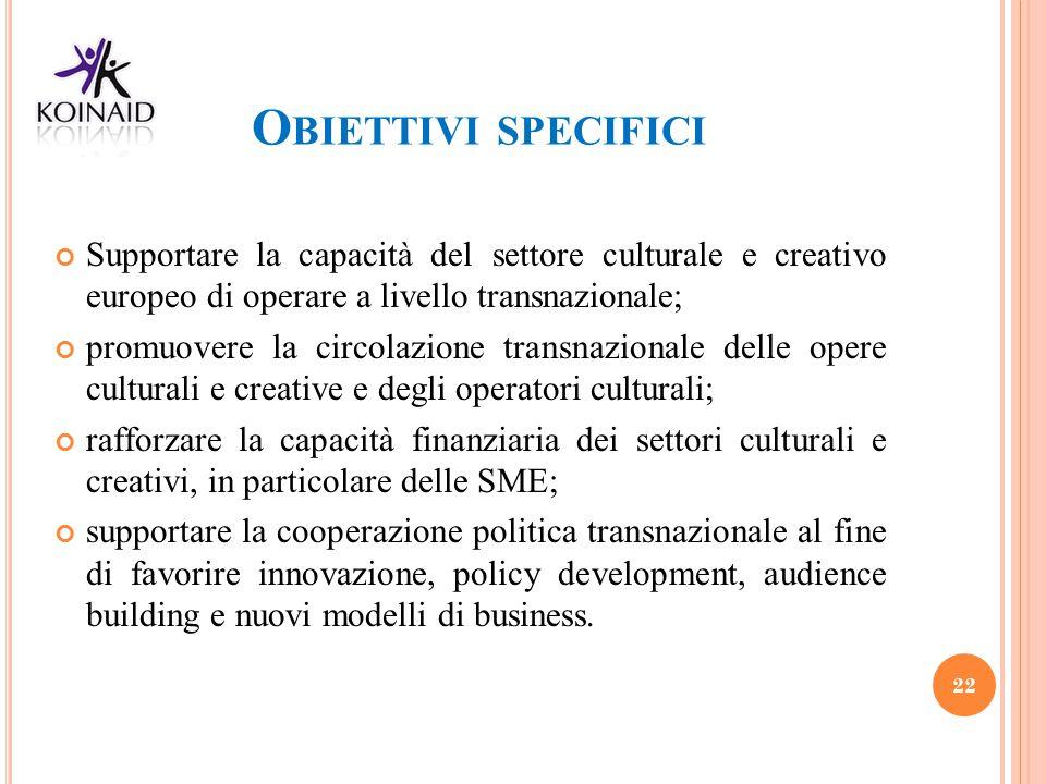 O BIETTIVI SPECIFICI Supportare la capacità del settore culturale e creativo europeo di operare a livello transnazionale; promuovere la circolazione t