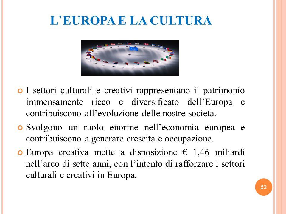 L`EUROPA E LA CULTURA I settori culturali e creativi rappresentano il patrimonio immensamente ricco e diversificato dell'Europa e contribuiscono all'e