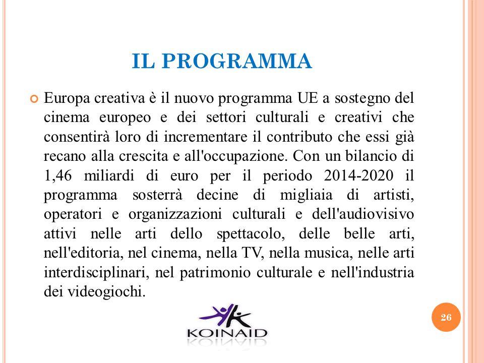 IL PROGRAMMA Europa creativa è il nuovo programma UE a sostegno del cinema europeo e dei settori culturali e creativi che consentirà loro di increment