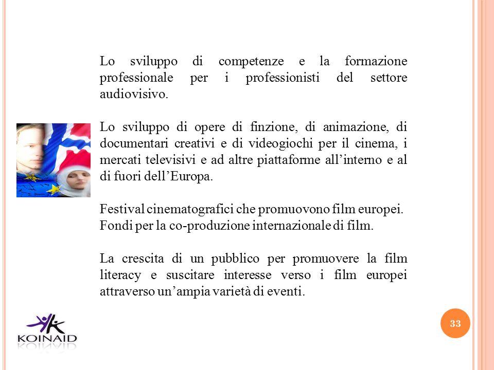 33 Lo sviluppo di competenze e la formazione professionale per i professionisti del settore audiovisivo. Lo sviluppo di opere di finzione, di animazio
