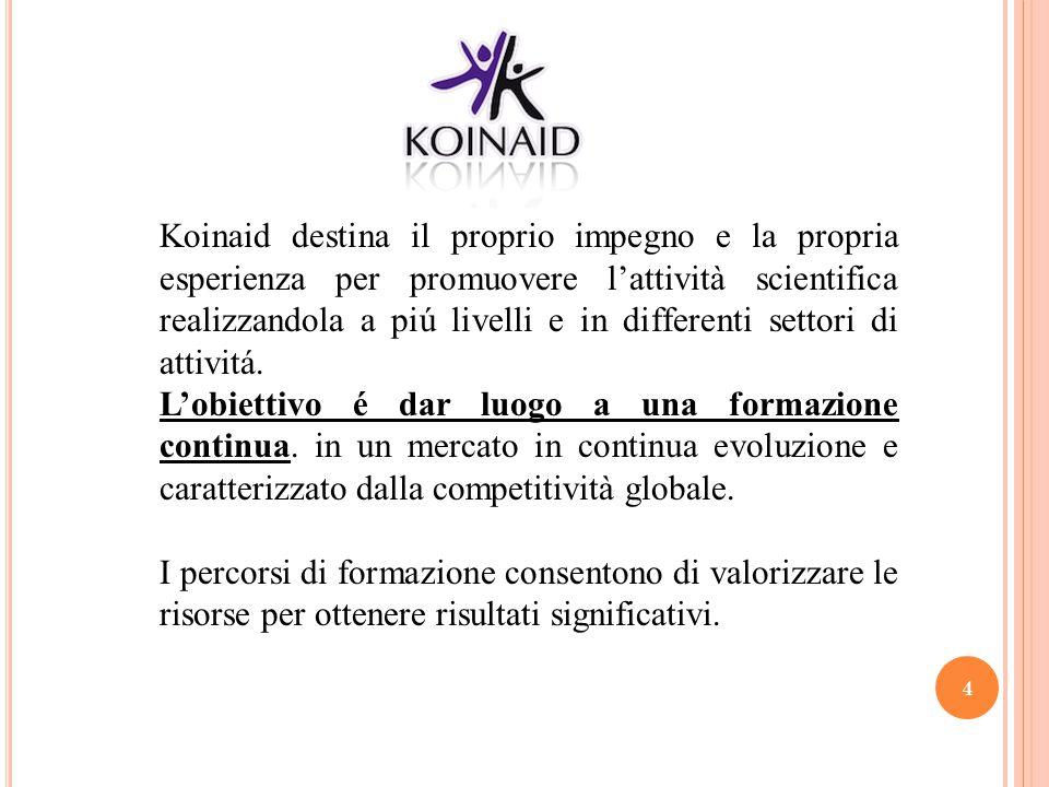 4 Koinaid destina il proprio impegno e la propria esperienza per promuovere l'attività scientifica realizzandola a piú livelli e in differenti settori