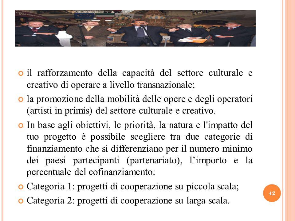 il rafforzamento della capacità del settore culturale e creativo di operare a livello transnazionale; la promozione della mobilità delle opere e degli