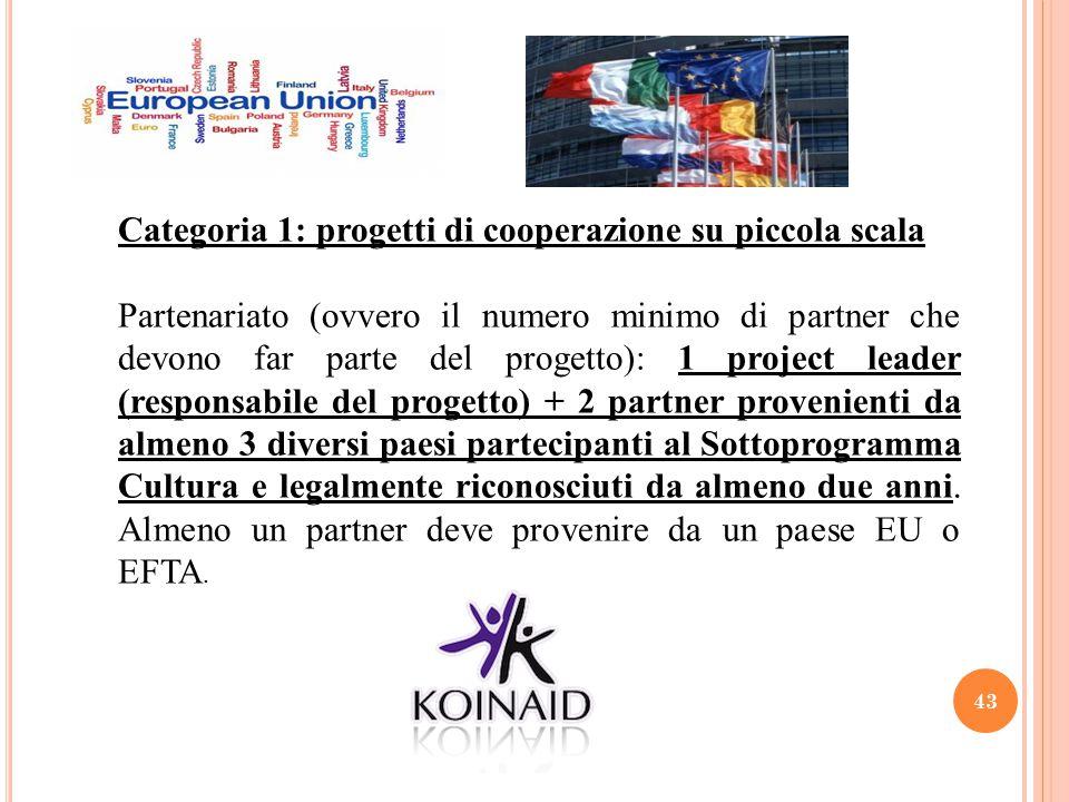 43 Categoria 1: progetti di cooperazione su piccola scala Partenariato (ovvero il numero minimo di partner che devono far parte del progetto): 1 proje