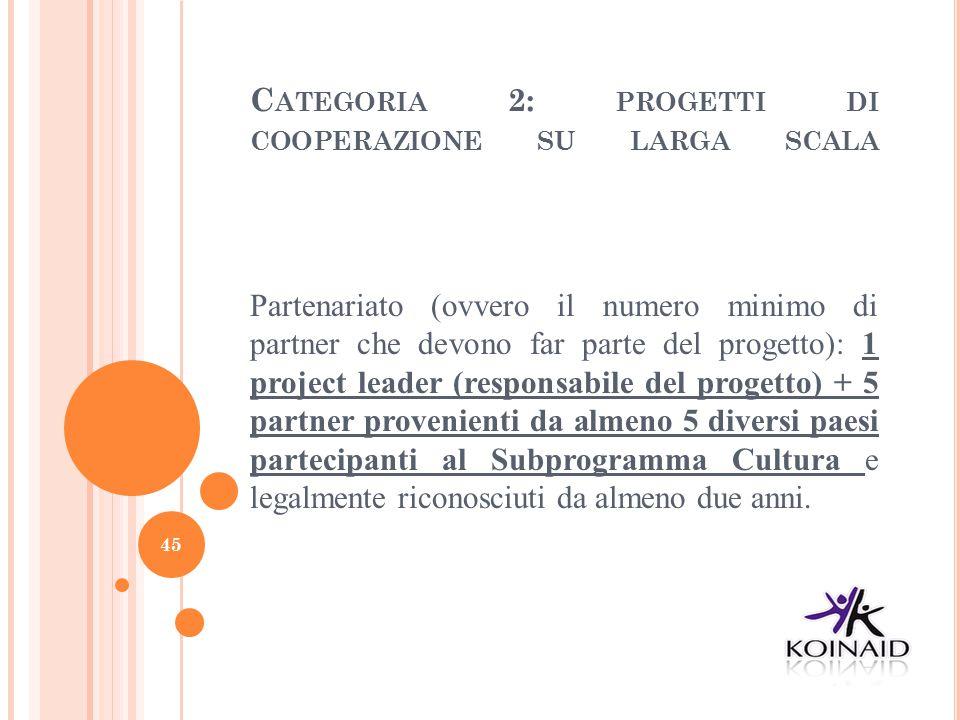 C ATEGORIA 2: PROGETTI DI COOPERAZIONE SU LARGA SCALA Partenariato (ovvero il numero minimo di partner che devono far parte del progetto): 1 project l