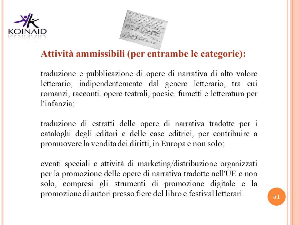 51 Attività ammissibili (per entrambe le categorie): traduzione e pubblicazione di opere di narrativa di alto valore letterario, indipendentemente dal