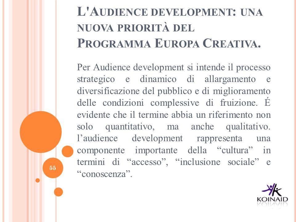 L'A UDIENCE DEVELOPMENT : UNA NUOVA PRIORITÀ DEL P ROGRAMMA E UROPA C REATIVA. Per Audience development si intende il processo strategico e dinamico d