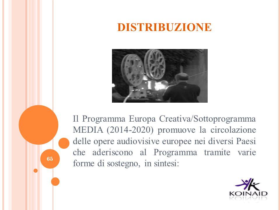 DISTRIBUZIONE Il Programma Europa Creativa/Sottoprogramma MEDIA (2014-2020) promuove la circolazione delle opere audiovisive europee nei diversi Paesi