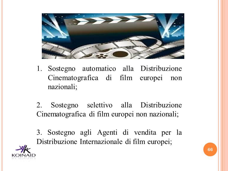 66 1.Sostegno automatico alla Distribuzione Cinematografica di film europei non nazionali; 2. Sostegno selettivo alla Distribuzione Cinematografica di