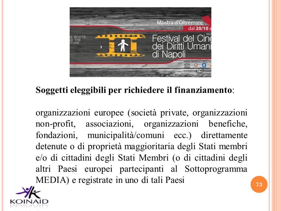 73 Soggetti eleggibili per richiedere il finanziamento: organizzazioni europee (società private, organizzazioni non-profit, associazioni, organizzazio