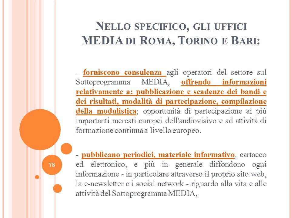 N ELLO SPECIFICO, GLI UFFICI MEDIA DI R OMA, T ORINO E B ARI : - forniscono consulenza agli operatori del settore sul Sottoprogramma MEDIA, offrendo i
