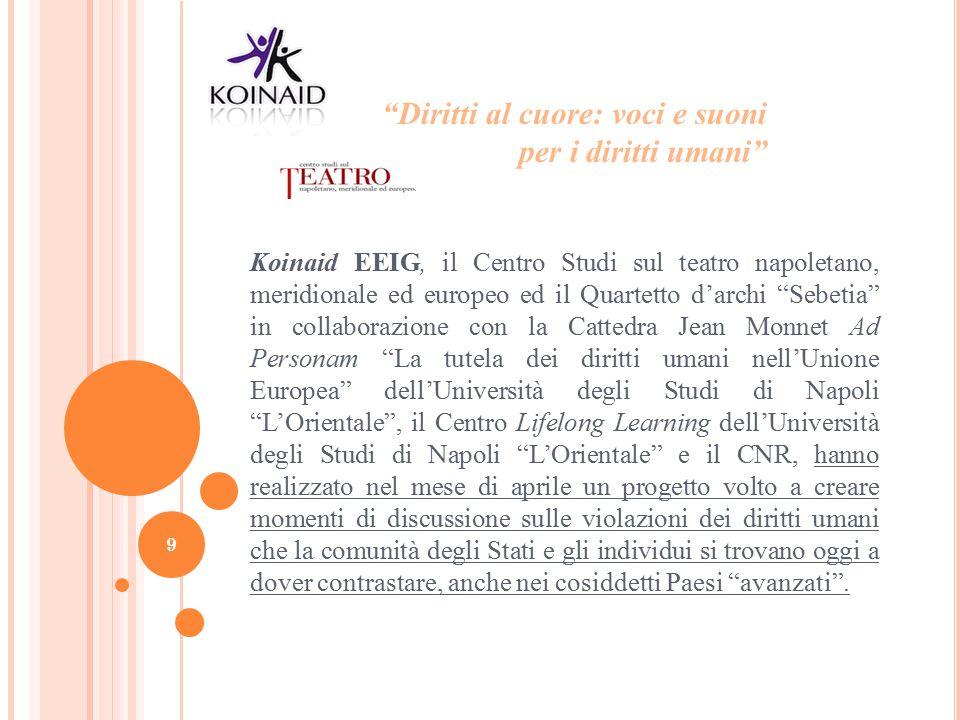"""Koinaid EEIG, il Centro Studi sul teatro napoletano, meridionale ed europeo ed il Quartetto d'archi """"Sebetia"""" in collaborazione con la Cattedra Jean M"""