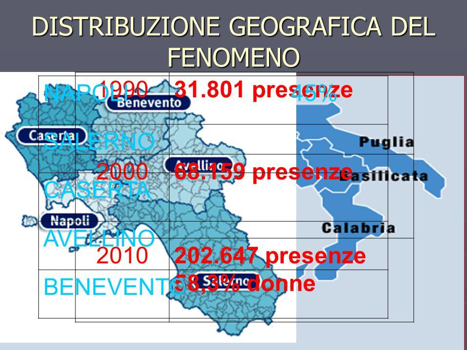 DISTRIBUZIONE GEOGRAFICA DEL FENOMENO 199031.801 presenze 200068.159 presenze 2010202.647 presenze 58,3% donne NAPOLI 45% SALERNO CASERTA AVELLINO BEN