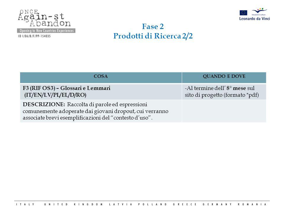 COSAQUANDO E DOVE F3 (RIF OS3) – Glossari e Lemmari (IT/EN/LV/PL/EL/D/RO) -Al termine dell' 8° mese sul sito di progetto (formato *pdf) DESCRIZIONE: R