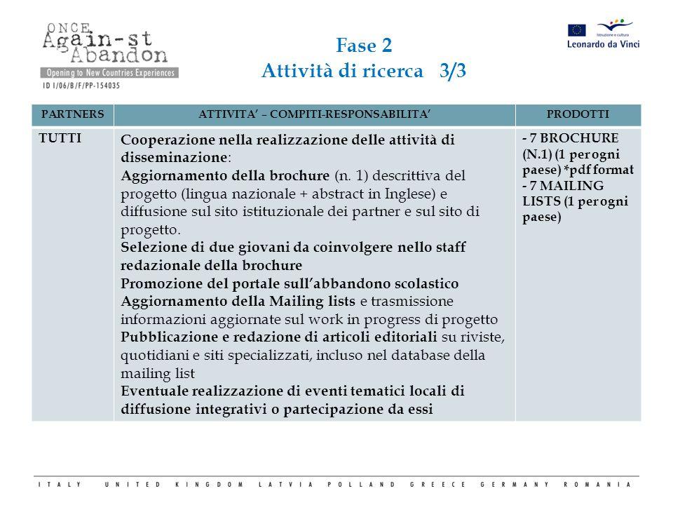 PARTNERSATTIVITA' – COMPITI-RESPONSABILITA'PRODOTTI TUTTI Cooperazione nella realizzazione delle attività di disseminazione : Aggiornamento della broc