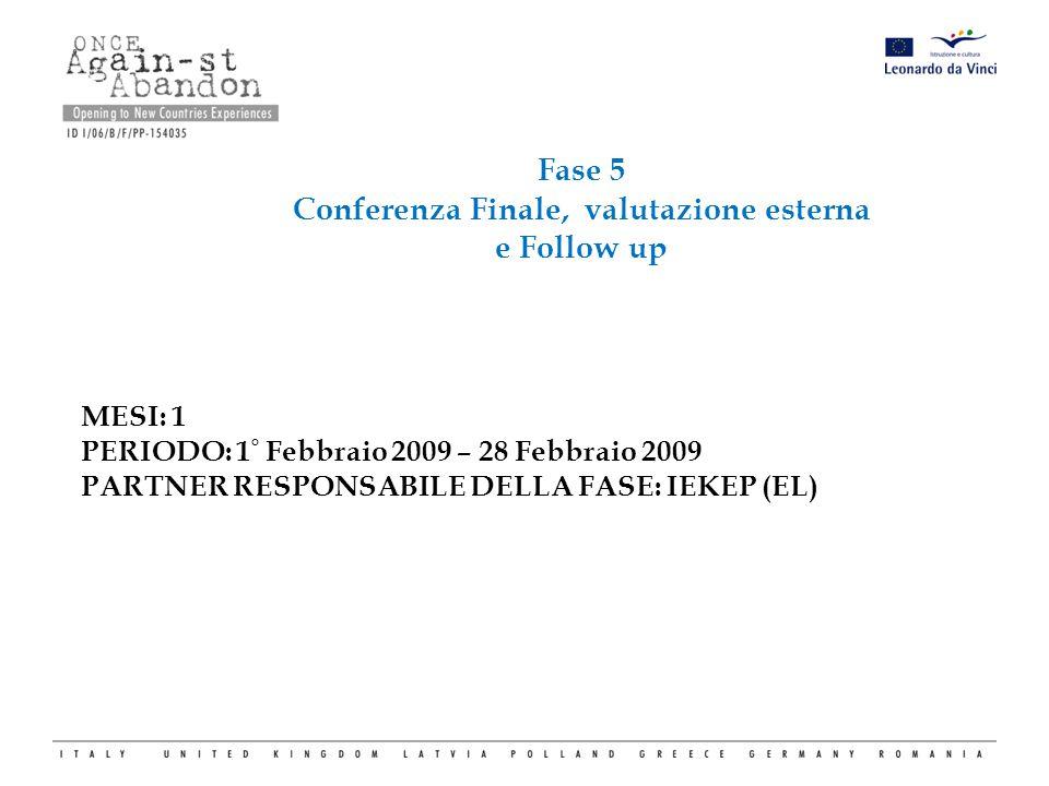 Fase 5 Conferenza Finale, valutazione esterna e Follow up MESI: 1 PERIODO: 1 ° Febbraio 2009 – 28 Febbraio 2009 PARTNER RESPONSABILE DELLA FASE: IEKEP