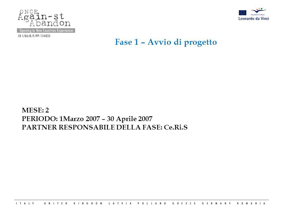 Fase 1 – Avvio di progetto MESE: 2 PERIODO: 1Marzo 2007 – 30 Aprile 2007 PARTNER RESPONSABILE DELLA FASE: Ce.Ri.S