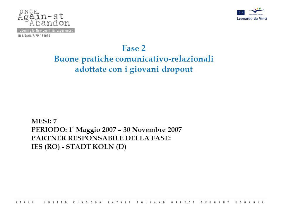 Fase 2 Buone pratiche comunicativo-relazionali adottate con i giovani dropout MESI: 7 PERIODO: 1 ° Maggio 2007 – 30 Novembre 2007 PARTNER RESPONSABILE