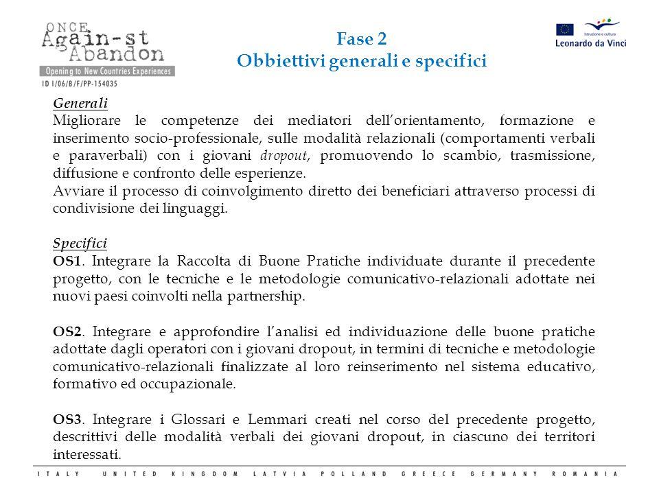 Generali Migliorare le competenze dei mediatori dell'orientamento, formazione e inserimento socio-professionale, sulle modalità relazionali (comportam