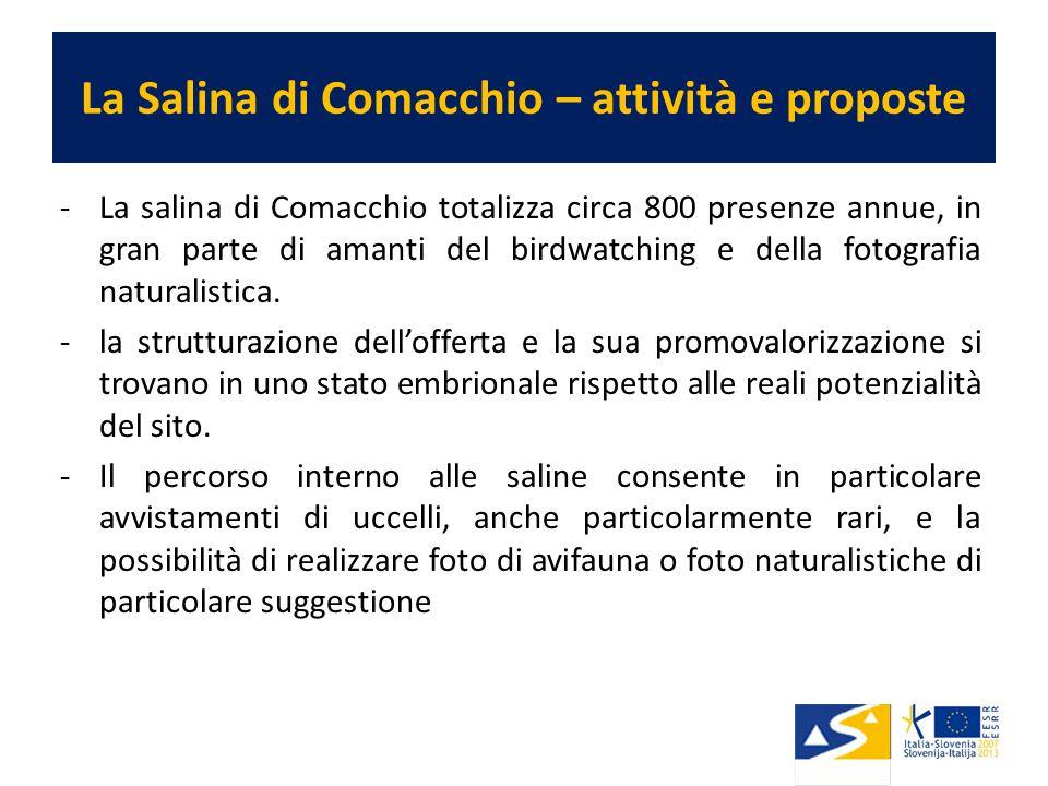 La Salina di Comacchio – attività e proposte -La salina di Comacchio totalizza circa 800 presenze annue, in gran parte di amanti del birdwatching e della fotografia naturalistica.