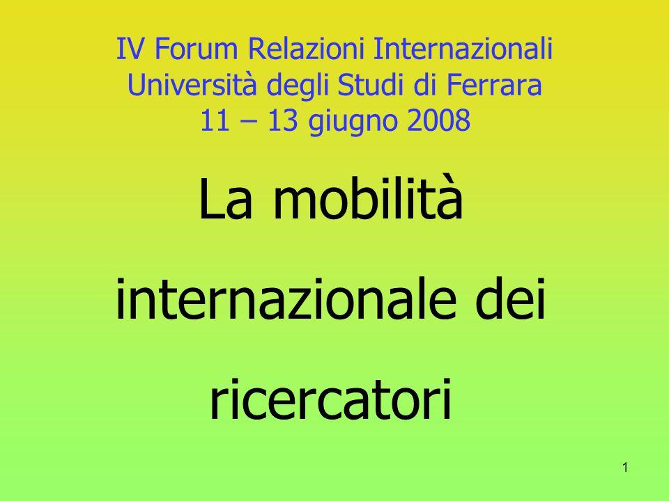 1 IV Forum Relazioni Internazionali Università degli Studi di Ferrara 11 – 13 giugno 2008 La mobilità internazionale dei ricercatori