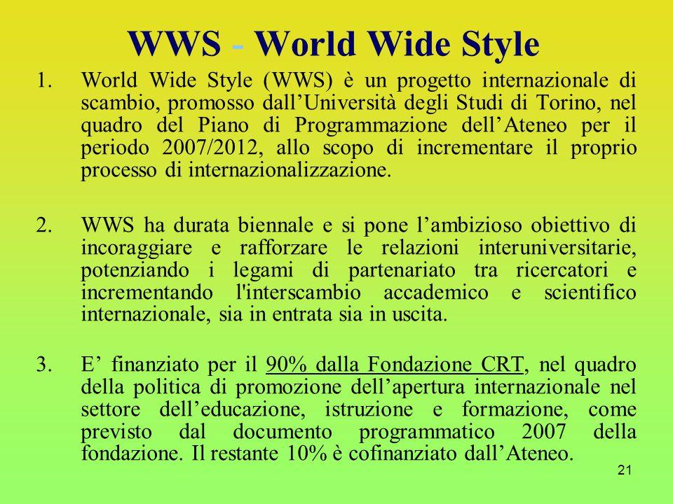 21 1.World Wide Style (WWS) è un progetto internazionale di scambio, promosso dall'Università degli Studi di Torino, nel quadro del Piano di Programmazione dell'Ateneo per il periodo 2007/2012, allo scopo di incrementare il proprio processo di internazionalizzazione.