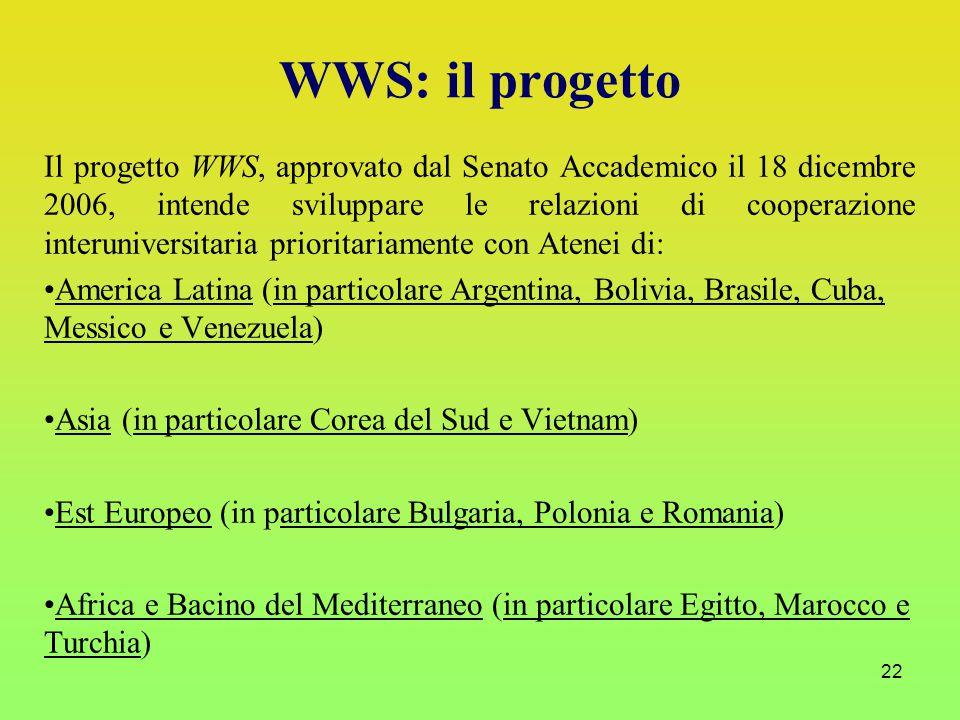 22 Il progetto WWS, approvato dal Senato Accademico il 18 dicembre 2006, intende sviluppare le relazioni di cooperazione interuniversitaria prioritariamente con Atenei di: America Latina (in particolare Argentina, Bolivia, Brasile, Cuba, Messico e Venezuela) Asia (in particolare Corea del Sud e Vietnam) Est Europeo (in particolare Bulgaria, Polonia e Romania) Africa e Bacino del Mediterraneo (in particolare Egitto, Marocco e Turchia) WWS: il progetto