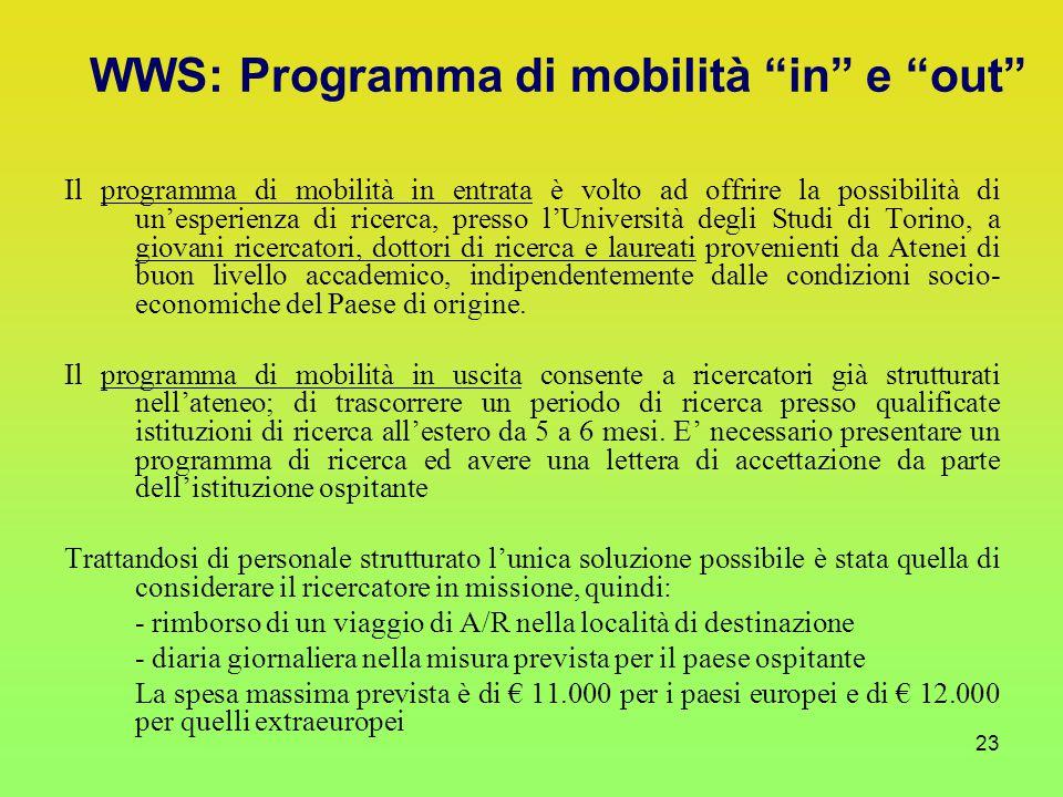 23 Il programma di mobilità in entrata è volto ad offrire la possibilità di un'esperienza di ricerca, presso l'Università degli Studi di Torino, a giovani ricercatori, dottori di ricerca e laureati provenienti da Atenei di buon livello accademico, indipendentemente dalle condizioni socio- economiche del Paese di origine.