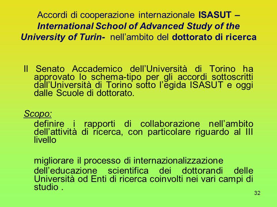 32 Il Senato Accademico dell'Università di Torino ha approvato lo schema-tipo per gli accordi sottoscritti dall'Università di Torino sotto l'egida ISASUT e oggi dalle Scuole di dottorato.