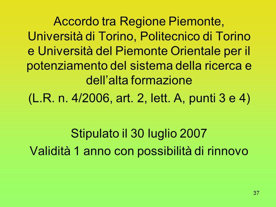 37 Accordo tra Regione Piemonte, Università di Torino, Politecnico di Torino e Università del Piemonte Orientale per il potenziamento del sistema della ricerca e dell'alta formazione (L.R.