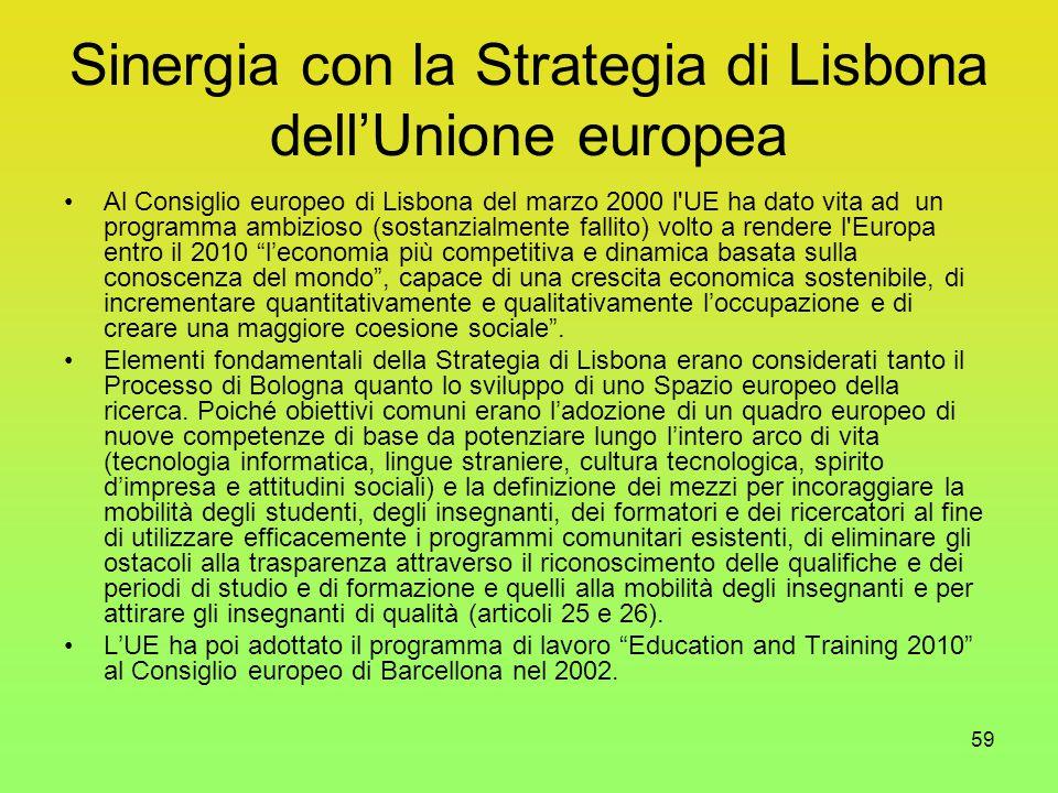 59 Sinergia con la Strategia di Lisbona dell'Unione europea Al Consiglio europeo di Lisbona del marzo 2000 l UE ha dato vita ad un programma ambizioso (sostanzialmente fallito) volto a rendere l Europa entro il 2010 l'economia più competitiva e dinamica basata sulla conoscenza del mondo , capace di una crescita economica sostenibile, di incrementare quantitativamente e qualitativamente l'occupazione e di creare una maggiore coesione sociale .