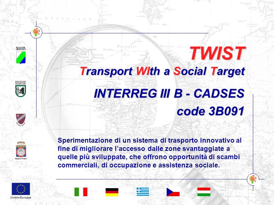 REGIONE ABRUZZO Unione Europea TWIST Transport WIth a Social Target INTERREG III B - CADSES code 3B091 Sperimentazione di un sistema di trasporto innovativo al fine di migliorare l'accesso dalle zone svantaggiate a quelle più sviluppate, che offrono opportunità di scambi commerciali, di occupazione e assistenza sociale.