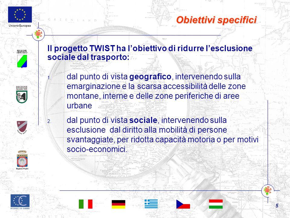 REGIONE ABRUZZO 5 Unione Europea Obiettivi specifici Il progetto TWIST ha l'obiettivo di ridurre l'esclusione sociale dal trasporto: 1. dal punto di v